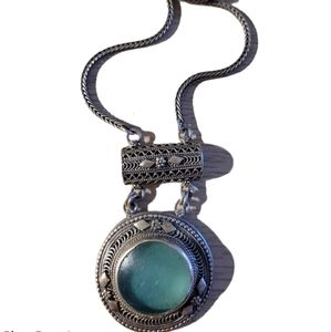 Silver and Roman Glass pendant necklace